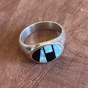 Navajo Opal & Onyx Sterling Silver Inlay Ring 4.75